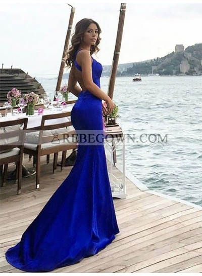 Sexy Royal Blue Mermaid  Backless Criss Cross Long Prom Dresses 2020
