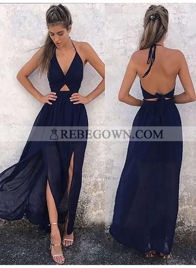 2020 Cheap A Line Chiffon Dark Navy V Neck Halter Backless Lace Up Back Prom Dresses