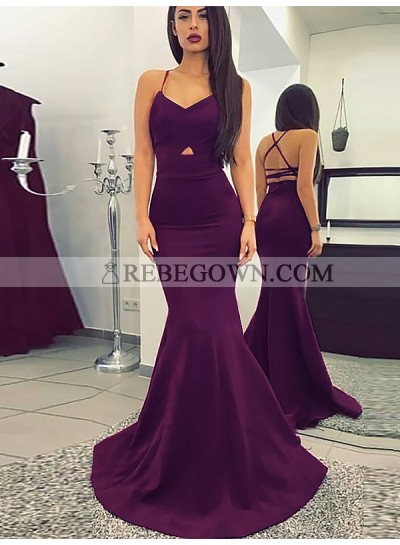 2021 Sexy Mermaid  Grape Sweetheart Criss Cross Satin Backless Long Prom Dresses