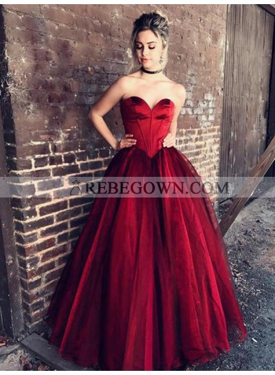 2021 Cheap A Line Sweetheart Burgundy Organza Strapless Prom Dresses