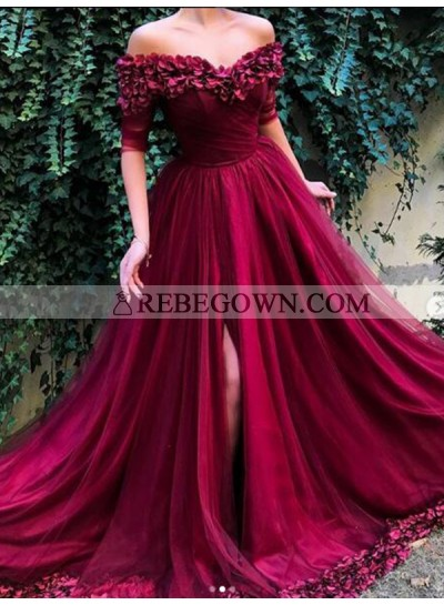 2020 New Arrival A Line Tulle Burgundy Off Shoulder Short Sleeves Floral Prom Dresses