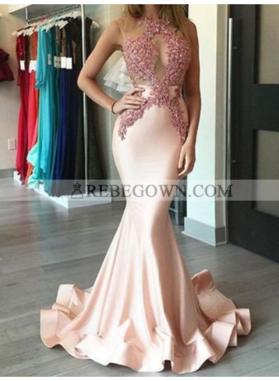 Mermaid  Pearl Pink See Through Satin Appliques Long Prom Dresses 2021