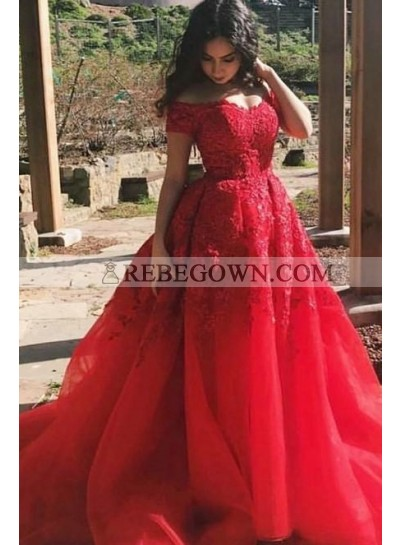 Charming A Line Red Off Shoulder Tulle With Appliques Short Sleeves Long Prom Dresses 2021