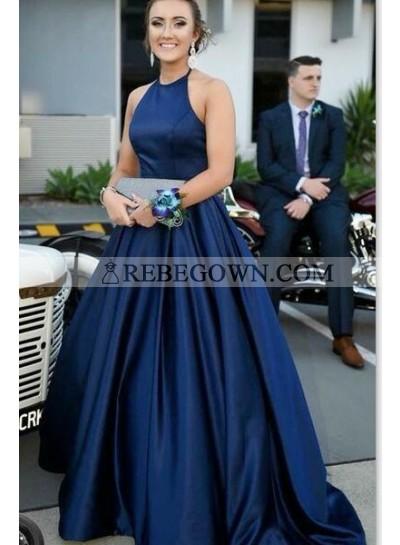 2021 Elegant A Line Satin Dark Navy Sleeveless Long Plain Prom Dresses