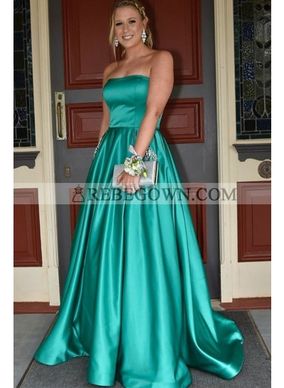 2020 Elegant A Line Elastic Satin Jade Strapless Prom Dresses With Pockets