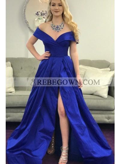 Amazing A Line Off Shoulder Royal Blue Side Slit Satin Long Prom Dresses 2020