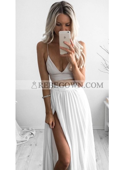2020 Cheap A Line Chiffon White Two Pieces Sweetheart Spaghetti Straps Side Slit Prom Dresses