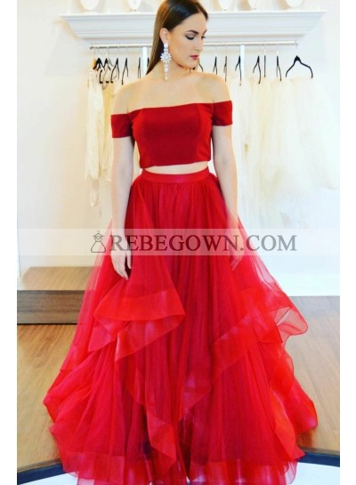 2020 New Designer A Line Red Two Pieces Tulle Off Shoulder Ruffles Prom Dresses