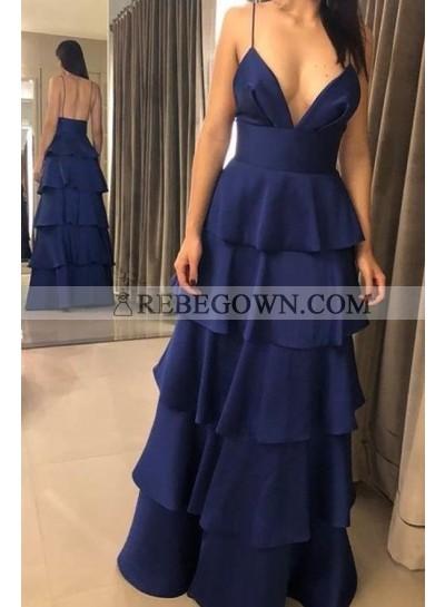 2021 New Arrival A Line Chiffon Dark Navy Sweetheart Spaghetti Straps Ruffles Prom Dresses