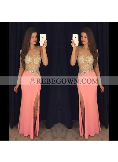 One Shoulder Sheath Elastic Satin Peach Beaded Side Slit See Through Prom Dresses 2021