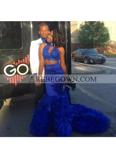 2021 Sexy Royal Blue Mermaid  Long Train High Neck Key Hole Two Pieces African American Prom Dresses