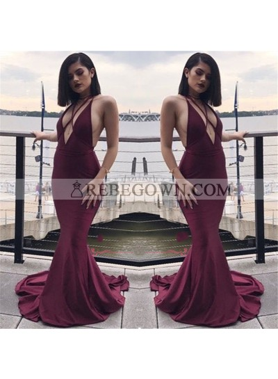 Sexy Mermaid  V Neck Burgundy Backless Long Prom Dresses 2020