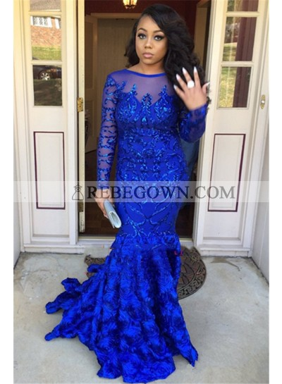 Charming Mermaid  Royal Blue Long Sleeves Floral Long Prom Dresses 2021