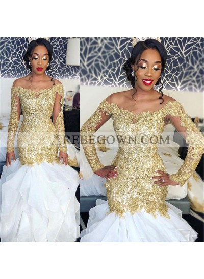 Amazing White And Gold Appliques Long Sleeves Off Shoulder Ruffles Long Mermaid  Prom Dresses 2021