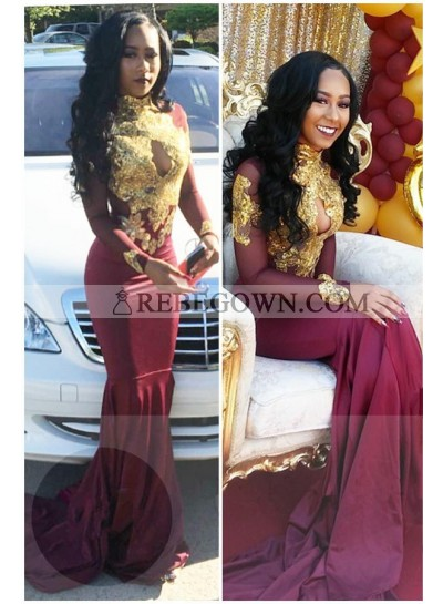 2021 Charming Mermaid  Burgundy And Gold Appliques Long Sleeves High Neck Key Hole Long African American Prom Dresses