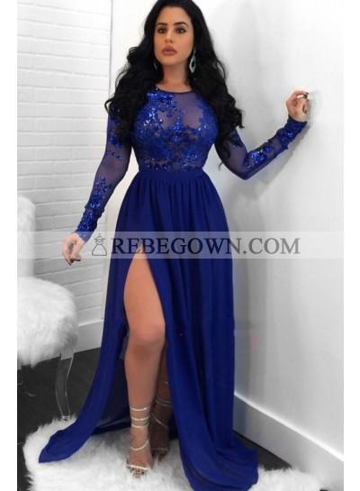 Charming A Line Side Slit Long Sleeves Chiffon Royal Blue See Through Prom Dresses 2021