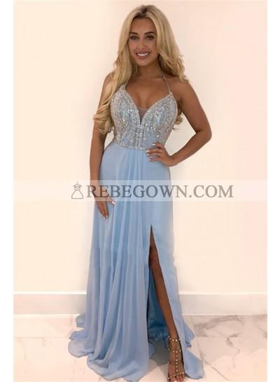 2021 Charming A Line Blue Chiffon Side Slit Sweetheart Halter Beaded Long Prom Dresses