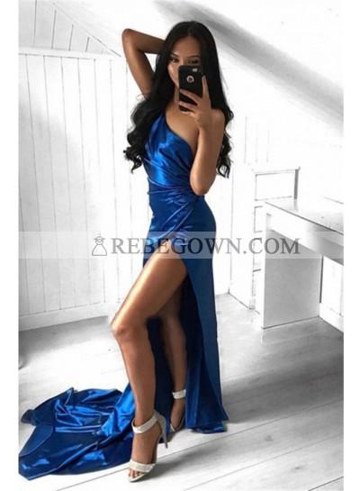 Sexy Royal Blue Sheath Elastic Satin Side Slit One Shoulder Long 2021 Prom Dresses