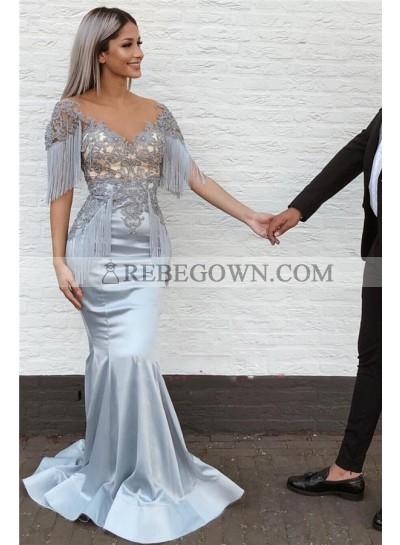 2021 New Designer Mermaid  Satin Silver Sweetheart Tassel Short Sleeves Prom Dresses