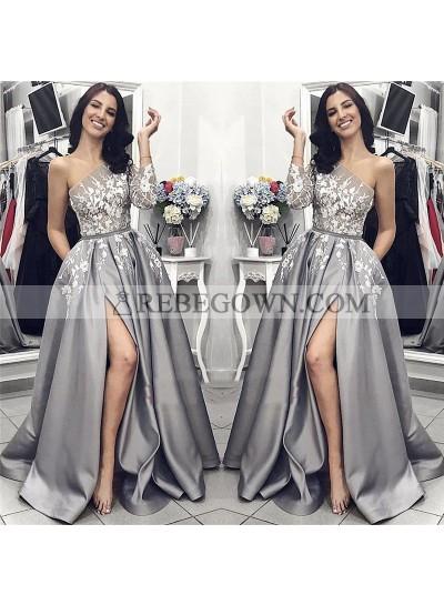 2021 New Designer A Line Satin Side Slit One Shoulder Gray and White Appliques Long Prom Dresses