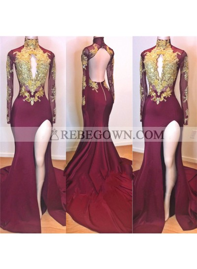 2020 Amazing Burgundy and Gold Appliques Long Sleeves High Neck Side Slit African American Prom Dresses