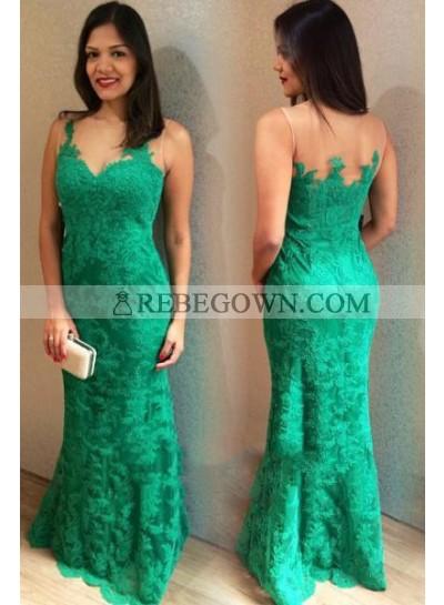 2021 Emerald Lace Sheath Sweetheart Floor Length Prom Dresses
