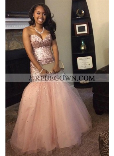 2021 Sexy Mermaid  Sweetheart Peach Beaded Tulle African American Prom Dresses