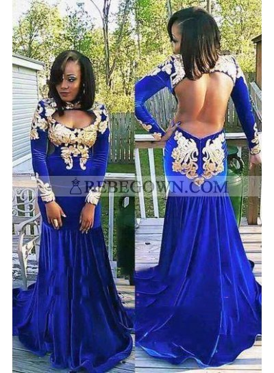 2020 New Arrival Royal Blue and Gold Mermaid  Long Sleeves Velvet Backless African American Long Prom Dresses
