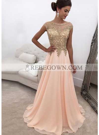 2020 Elegant Chiffon A Line Peach and Gold Appliques Prom Dresses