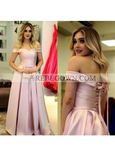 2020 Elegant A Line Satin Pink Off Shoulder Lace Up Back Long Prom Dresses