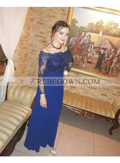2021 Cheap A Line Chiffon Floor Length Long Sleeves Off Shoulder Royal Blue Prom Dresses