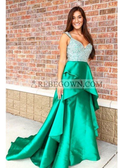 2020 A Line Green Sweetheart Beaded Ruffles Elastic Satin Long Prom Dresses