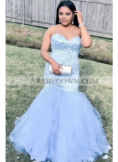 2021 Sexy Mermaid  Sweetheart Beaded Plus Size Lavender Prom Dresses