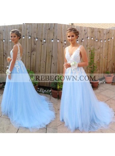 2021 Elegant A Line V Neck Tulle Blue and White Appliques Backless Prom Dresses
