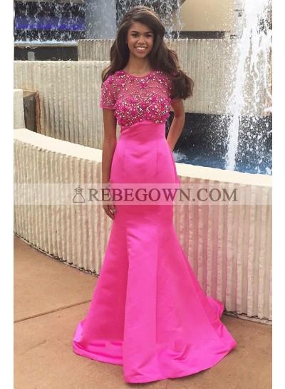 New Arrival Hot Pink Mermaid  Satin Short Sleeves Beaded African American Prom Dresses 2021