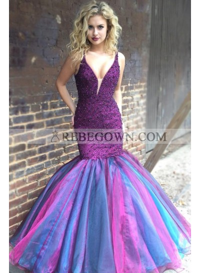 Charming 2020 Mermaid  Grape Mixed Color Organza Sweetheart Halter Beaded Backless Long Prom Dresses