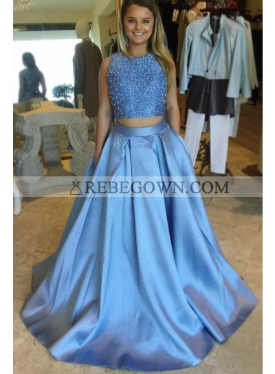 2020 Elegant A Line Satin Blue Beaded Two Pieces Sleeveless Long Prom Dresses