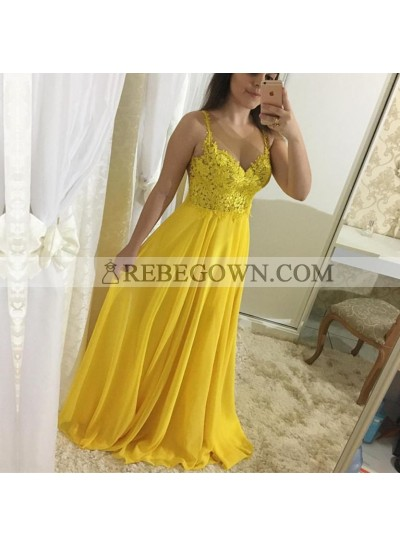 Cheap A Line Chiffon Sweetheart Yellow Lace Backless Prom Dresses 2020