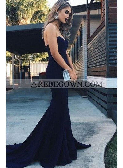 2020 Amazing Mermaid  Satin Sweetheart Dark Navy Long Prom Dresses