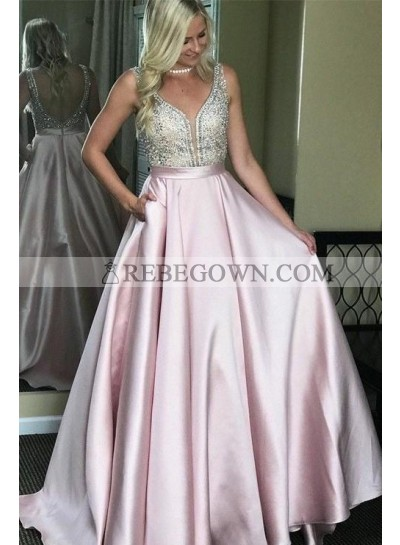 2021 New Arrival A Line Elastic Stain Blushing Pink Backless Sweetheart Long Prom Dresses
