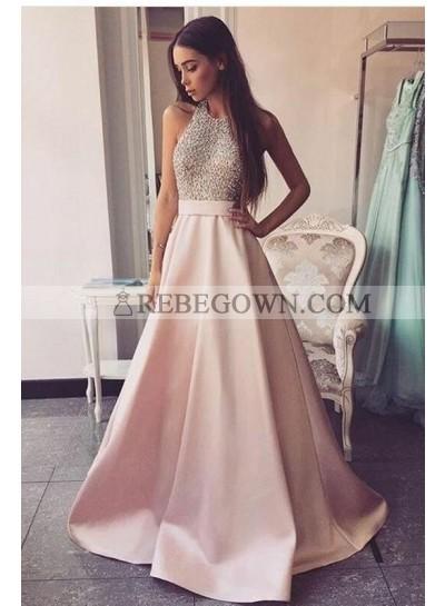 2021 Elegant A Line Satin Pink Backless Halter Beaded Long Prom Dresses