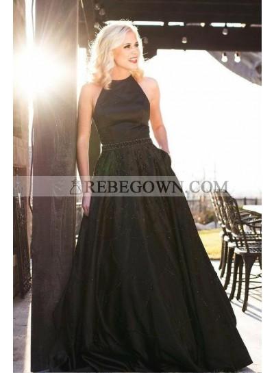 2021 Cheap A Line Black Halter Backless Satin Beaded Long Prom Dresses