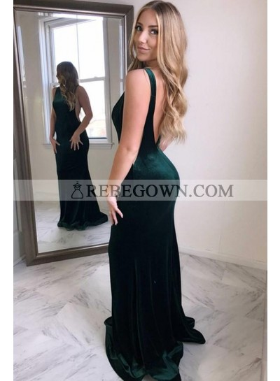 Sexy Dark Green Velvet Backless Mermaid  Long Prom Dresses 2021