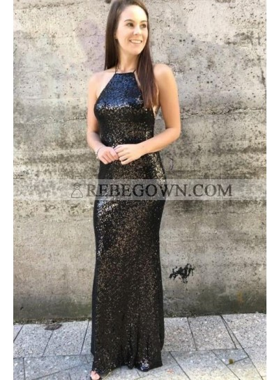 2021 Black Sheath Sequence Lace Up Back Criss Cross Long Prom Dresses