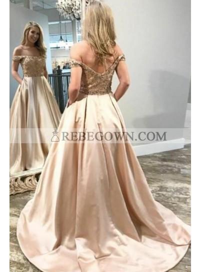 2021 Elegant A Line Satin Off Shoulder Champagne Beaded Long Prom Dresses