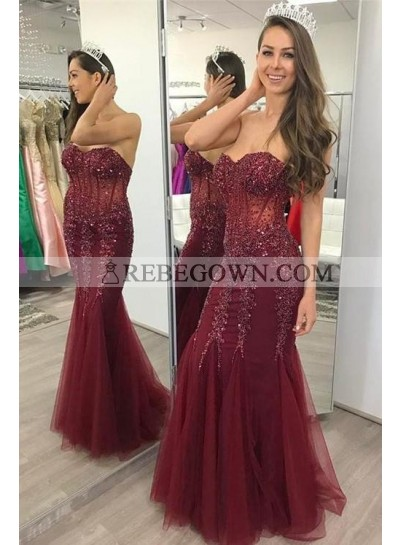 2021 Charming Mermaid  Sweetheart Tulle Burgundy Lace Up Back Appliques Prom Dresses