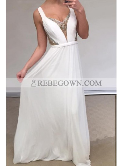 Cheap A Line Chiffon Backless White Sweetheart Bead Prom Dresses 2021