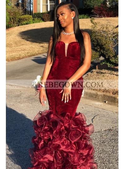 Sexy Mermaid  Burgundy Sweetheart Velvet Organza Strapless African American Prom Dresses 2021