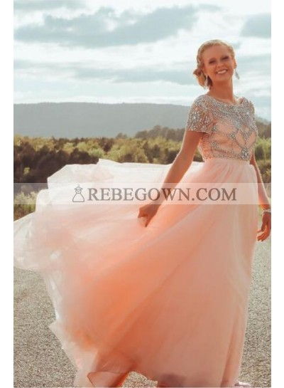 2021 New Arrival A Line Tulle Peach Short Sleeves Beaded Scoop Long Backless Prom Dresses