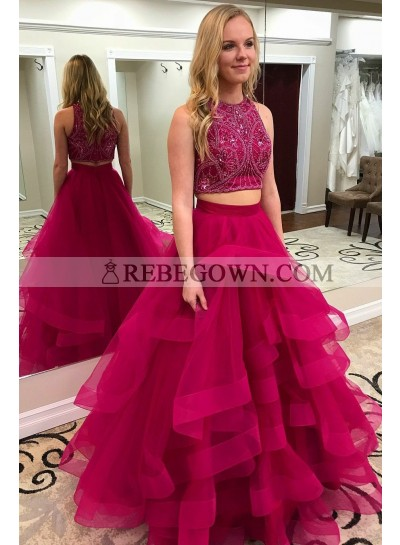 2020 New Arrival A Line Tulle Beaded Tulle Two Pieces Ruffles Fuchsia Prom Dresses